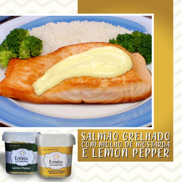 Salmão grelhado com molho de mostarda e lemon pepper